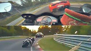getlinkyoutube.com-Nordschleife | Yamaha R6 chasing McLaren P1 & Seat Leon Cupra