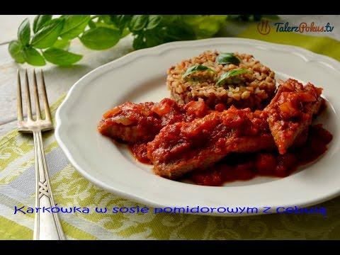 Karkówka w sosie pomidorowym z cebulą