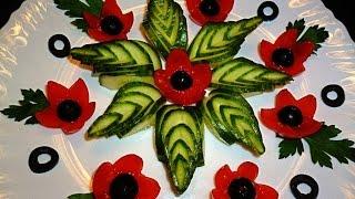getlinkyoutube.com-Украшения тарелки из огурца и помидора. Decoration of tomato and cucumber