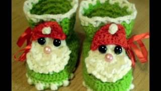 getlinkyoutube.com-Красивые вязаные пинетки. Beautiful crochet  booties for babies