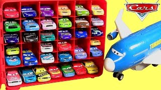 getlinkyoutube.com-Disney Cars 36 Piston Cup Racers Storage Carrying Case with Plane Everett Car Transporter Turbo Loft