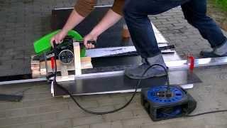 getlinkyoutube.com-Steel Saw Prototype (Improvised Track Saw) Eigenbau Stahlsäge