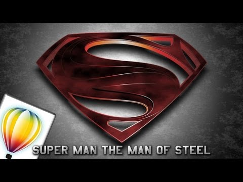 Tutorial corel draw logo super man the man of steel (2013)