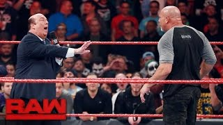 getlinkyoutube.com-Goldberg ataca a Paul Heyman y Rusev - WWE RAW 31/10/16 en Español Latino