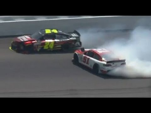 NASCAR Jeff Gordon and Bobby Labonte Crash at Michigan 2013