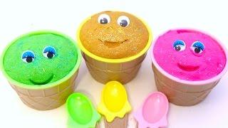 getlinkyoutube.com-Kinetic Sand Smiley Face Ice Cream Surprise Eggs Finding Dory Disney Trolles Microwave Egg Toys