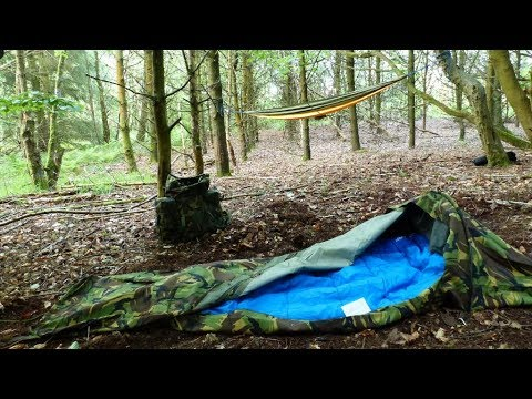 Wild camping in the woods steak dinner dutch army bivvy
