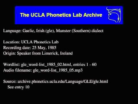 Gaelic, Irish audio: gle_word-list_1985_05