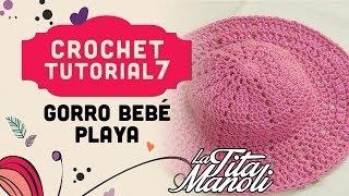 getlinkyoutube.com-Crochet - Gorro para bebe para playa