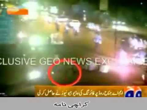 CCTV footage of MQM Target Killer in Black Shirt Paint Karachi firing on Pathans