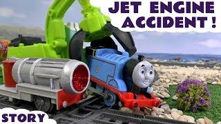 getlinkyoutube.com-Thomas & Friends Jet Engine Accident Minions Play Doh Diggin Rigs Rescue Toy Train Trackmaster Story