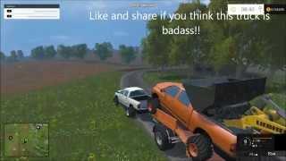 getlinkyoutube.com-Farming simulator 2015 Dodge cummins big tires and rolling coal!!