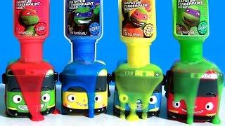getlinkyoutube.com-Learn Colors Tayo the Little Bus Bathtub Fingerpaint Water Toys TMNT Bath Paint 색상 알아보기 꼬마버스 타요