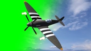 getlinkyoutube.com-Spitfire Airplane fly by green screen for dogfight - free green screen