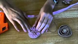 getlinkyoutube.com-Spiral Zipper Trim Flower Tutorial