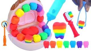 getlinkyoutube.com-DIY How To Make Play Doh Doctor Mighty Toys Rainbow Teeth Play Dough