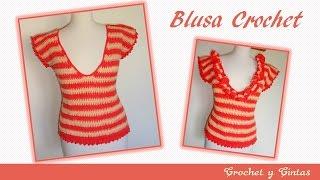 getlinkyoutube.com-Blusa combinada fruncida a crochet para mujeres – Parte 1