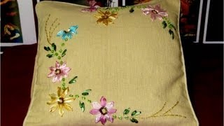 getlinkyoutube.com-Bordados con cintas cojín con flores