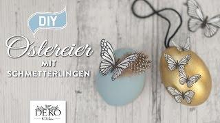 getlinkyoutube.com-DIY: hübsche Ostereier mit Schmetterlingen und Blüten aus Papier basteln [How to] Deko Kitchen