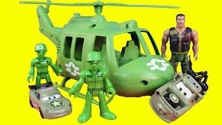 getlinkyoutube.com-Disney Pixar Toy Story Combat Carl & Imaginext Army Figures Rescue Lightning McQueen Sully