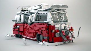 getlinkyoutube.com-LEGO Volkswagen Camper Van Explosion! Lego 10220