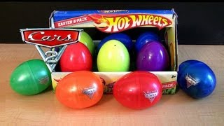 getlinkyoutube.com-Pixar Cars 2 Holiday Edition + Hot Wheels Surprise Easter Eggs Speedsters ToyCollector BluCollection