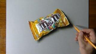 getlinkyoutube.com-Drawing time lapse: a bag of M&M's - hyperrealistic art