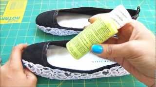 getlinkyoutube.com-Fashion DIY How to make Neon And Lace Flats with some old shoes