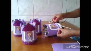 getlinkyoutube.com-Centro de mesa com lata de leite e Eva. (princesa Sofia)