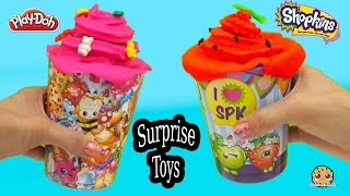 getlinkyoutube.com-Playdoh Treat Shopkins Cups Filled with Surprise Mystery Blind Bag Toys - Cookieswirlc