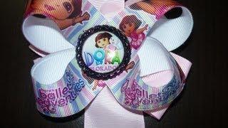 getlinkyoutube.com-Diy Moños Boutique facil  Dora la Exploradora con centro boton epoxy, #074