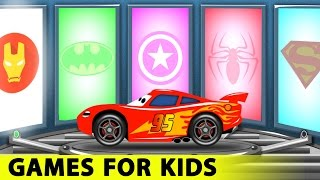 getlinkyoutube.com-Lightning McQueen and Spiderman Cars Cartoon for Kids with Fun Race Learn Colors for Children