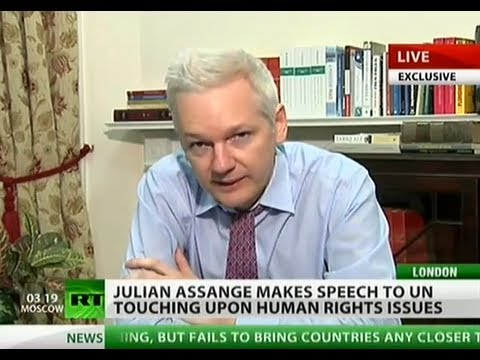 Julian Assange addresses UN on human rights