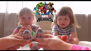 getlinkyoutube.com-Супергерои Марвел Киндер сюрприз яйца Marvel Heroes Surprise eggs toys unboxing
