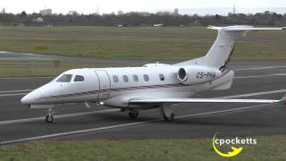 getlinkyoutube.com-NetJets Phenom 300 CS-PHA - Landing - Close up - Powerful Take off - Gloucestershire Airport