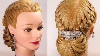 getlinkyoutube.com-Braided updo. Hairstyles for long hair