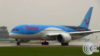 Boeing 787 singing in the rain - Awesome sound!