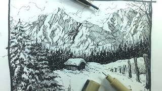 getlinkyoutube.com-Pen & Ink Drawing Tutorials | How to draw a winter landscape