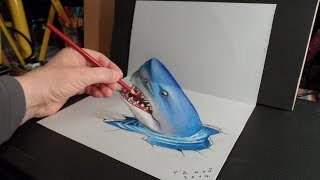 getlinkyoutube.com-3D Trick Art, Drawing a Shark, Optical Illusion