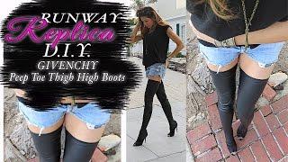 getlinkyoutube.com-DIY CHANEL- GIVENCHY Runway Peep Toe Thigh High Boots