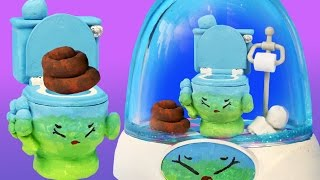 getlinkyoutube.com-SQUEEZY POO SHOPKINS TOILET GLITTER GLOBE Make Your Own Toilet Paper Roll Paint Clay Brown Poop