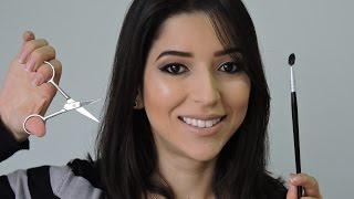 Como aparar os fios das sobrancelhas usando a tesoura! #sobrancelhasparte1