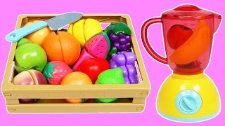 getlinkyoutube.com-MAGIC Fruit Blender Slime Smoothie Cooking & Learn Fruit Names with Toy Cutting Velcro Fruit!