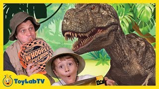 getlinkyoutube.com-GIANT Life Size T-REX Dinosaur vs Park Ranger Aaron In Real Life at Playground in Fun Kids Toy Video