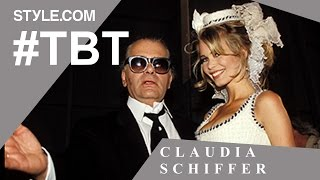 getlinkyoutube.com-Claudia Schiffer: Chanel Muse, Guess Girl, and Iconic Blonde - #TBT with Tim Blanks - Style.com