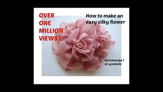 getlinkyoutube.com-EASY METHOD, BEAUTIFUL SILKY FLOWER # 2, DIY fabric flower tutorial