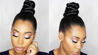 getlinkyoutube.com-How To: NINJA TOP KNOT BUN With BRAIDING HAIR Step By Step|ChimereNicole