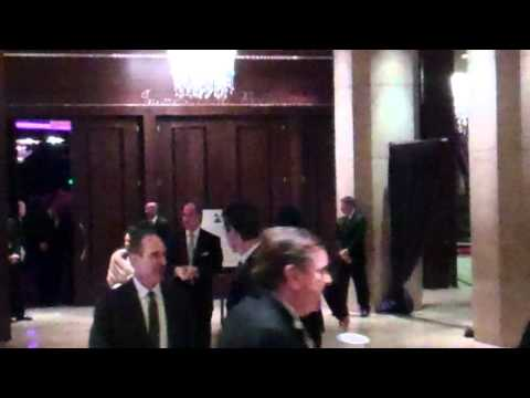 Adam Lambert leaving Clive Davis and The Recording Academy's 2012 Pre-GRAMMY Gala
