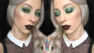 getlinkyoutube.com-Kat Von D Mi Vida Loca Palette | Green Smokey Eye Dark Lip
