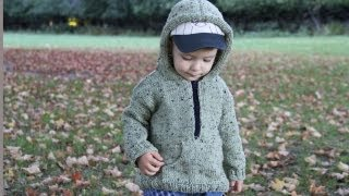 getlinkyoutube.com-How to knit a hooded pullover for a child. Video tutorial with detailed instruction.